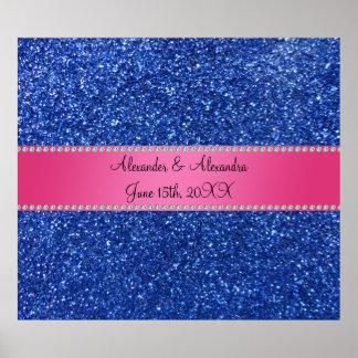 Favores azules del boda del brillo póster