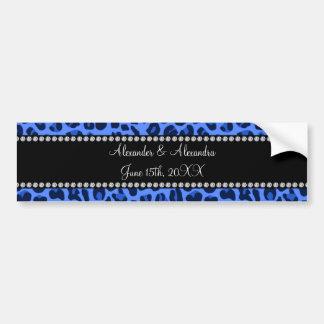 Favores azules del boda del modelo del leopardo etiqueta de parachoque