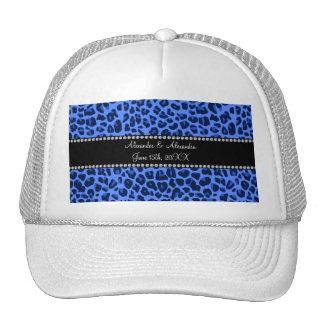 Favores azules del boda del modelo del leopardo gorros bordados