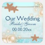 Favores azules del compromiso del boda de la manda pegatinas cuadradas