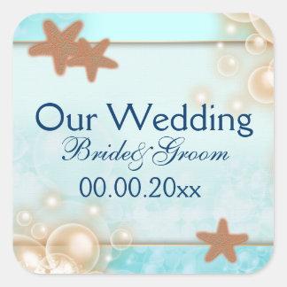 Favores azules del compromiso del boda de la pegatinas cuadradas personalizadas