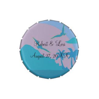 Favores azules del paraíso del océano latas de caramelos