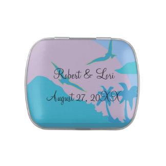 Favores azules del paraíso del océano frascos de caramelos
