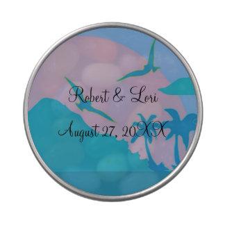 Favores azules del paraíso del océano jarrones de dulces