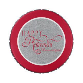 Favores de fiesta modernos rojos de retiro, lata latas de caramelos