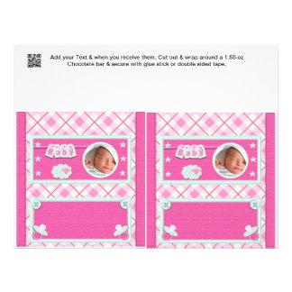 """Favores de fiesta rosados de las envolturas de la  folleto 8.5"""" x 11"""""""