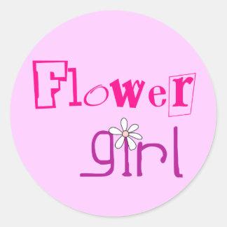 Favores de Flowergirl Pegatina Redonda