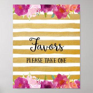 Favores de las flores que casan la impresión del póster