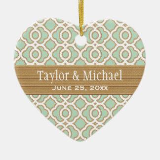 Favores del ornamento del boda de la verde menta y adorno