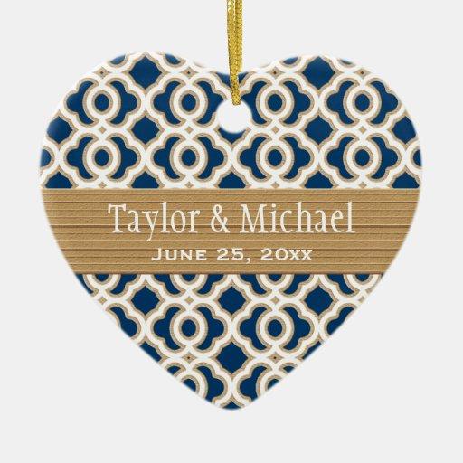 Favores del ornamento del boda de los azules adorno navideño de cerámica en forma de corazón