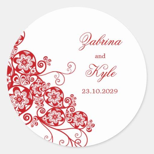 Favores florales elegantes del boda de Boho Pegatina Redonda