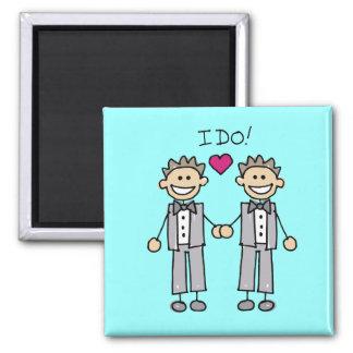 Favores gay del boda imán cuadrado