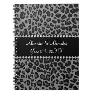 Favores grises del boda del estampado leopardo spiral notebooks