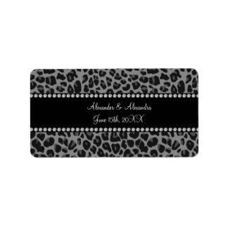 Favores grises del boda del estampado leopardo etiquetas de dirección