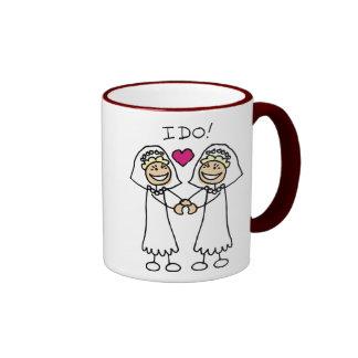 Favores lesbianos del boda taza de dos colores