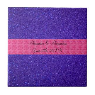 Favores púrpuras del boda del brillo azulejo cuadrado pequeño