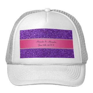 Favores púrpuras del boda del brillo gorras de camionero