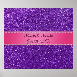 Favores púrpuras del boda del brillo póster