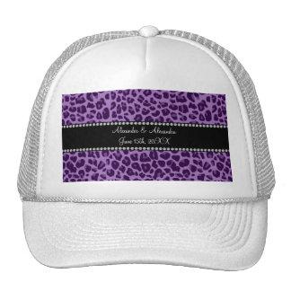 Favores púrpuras del boda del modelo del leopardo gorras