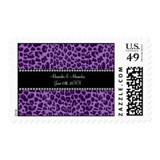 Favores púrpuras del boda del modelo del leopardo sellos