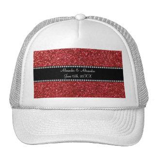 Favores rojos del boda del brillo gorras de camionero
