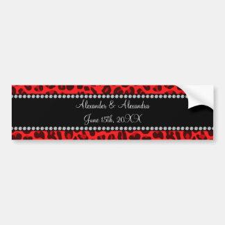 Favores rojos del boda del modelo del leopardo etiqueta de parachoque