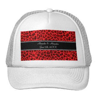 Favores rojos del boda del modelo del leopardo gorras