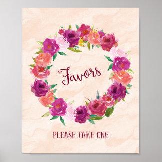 Favores rosados de los rosas que casan la póster