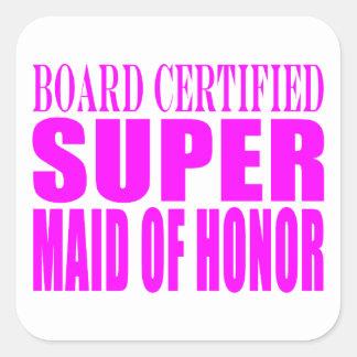 Favores rosados del boda: Criada del honor Pegatina Cuadradas Personalizada