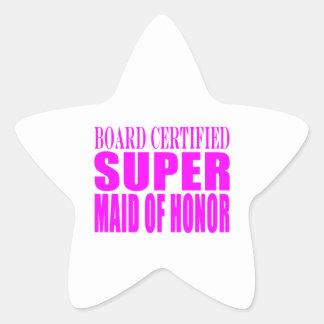 Favores rosados del boda: Criada del honor Pegatina En Forma De Estrella