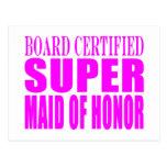 Favores rosados del boda: Criada del honor Postal