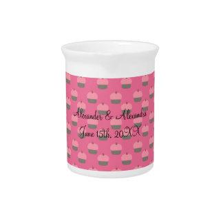 Favores rosados del boda de la magdalena jarrones