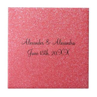Favores rosados del boda del brillo azulejo cuadrado pequeño