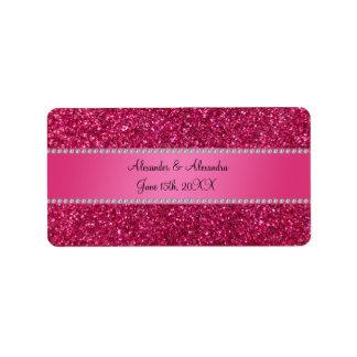 Favores rosados del boda del brillo etiqueta de dirección