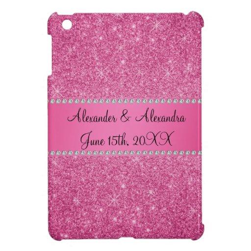Favores rosados del boda del brillo iPad mini cárcasa