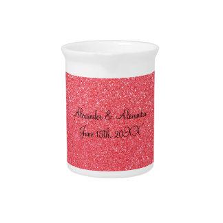 Favores rosados del boda del brillo jarra para bebida