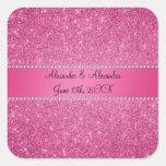 Favores rosados del boda del brillo calcomanía cuadradas personalizadas