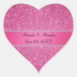 Favores rosados del boda del brillo calcomania de corazon personalizadas