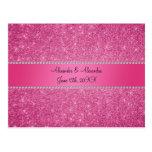 Favores rosados del boda del brillo postales