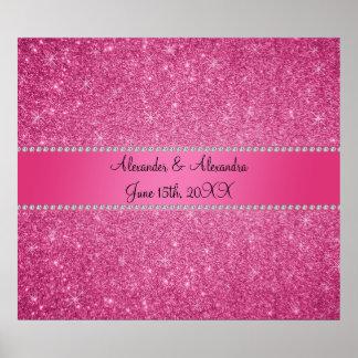 Favores rosados del boda del brillo póster