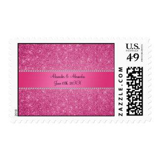 Favores rosados del boda del brillo sellos
