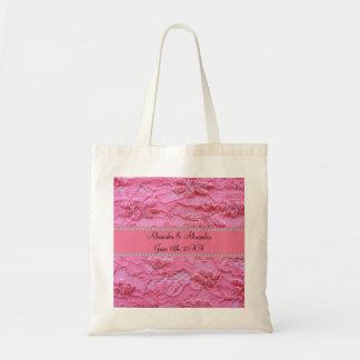 Favores rosados del boda del cordón bolsas lienzo