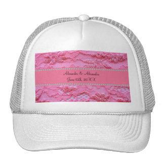 Favores rosados del boda del cordón gorros