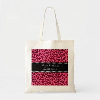 Favores rosados del boda del estampado leopardo bolsa tela barata
