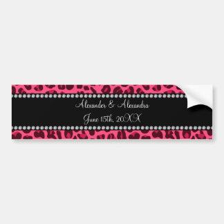 Favores rosados del boda del estampado leopardo etiqueta de parachoque