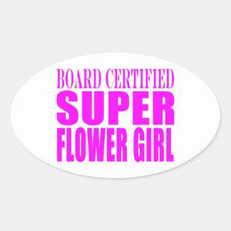Favores y gracias rosados del boda: Florista Calcomanías Ovales Personalizadas