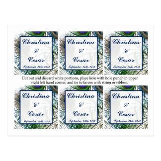 Favorezca las plumas del pavo real de las etiqueta tarjetas postales