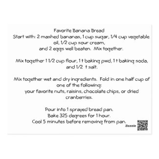 Favorite Banana Bread Recipe Postcard