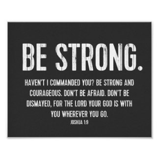 Favorite Bible Verse Poster, Christian, Be Strong Posters