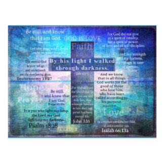 Favorite Bible Verses with Christian Cross Postcard